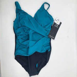 Miraclesuit Teal & Green/Black One-Piece Swimsuit
